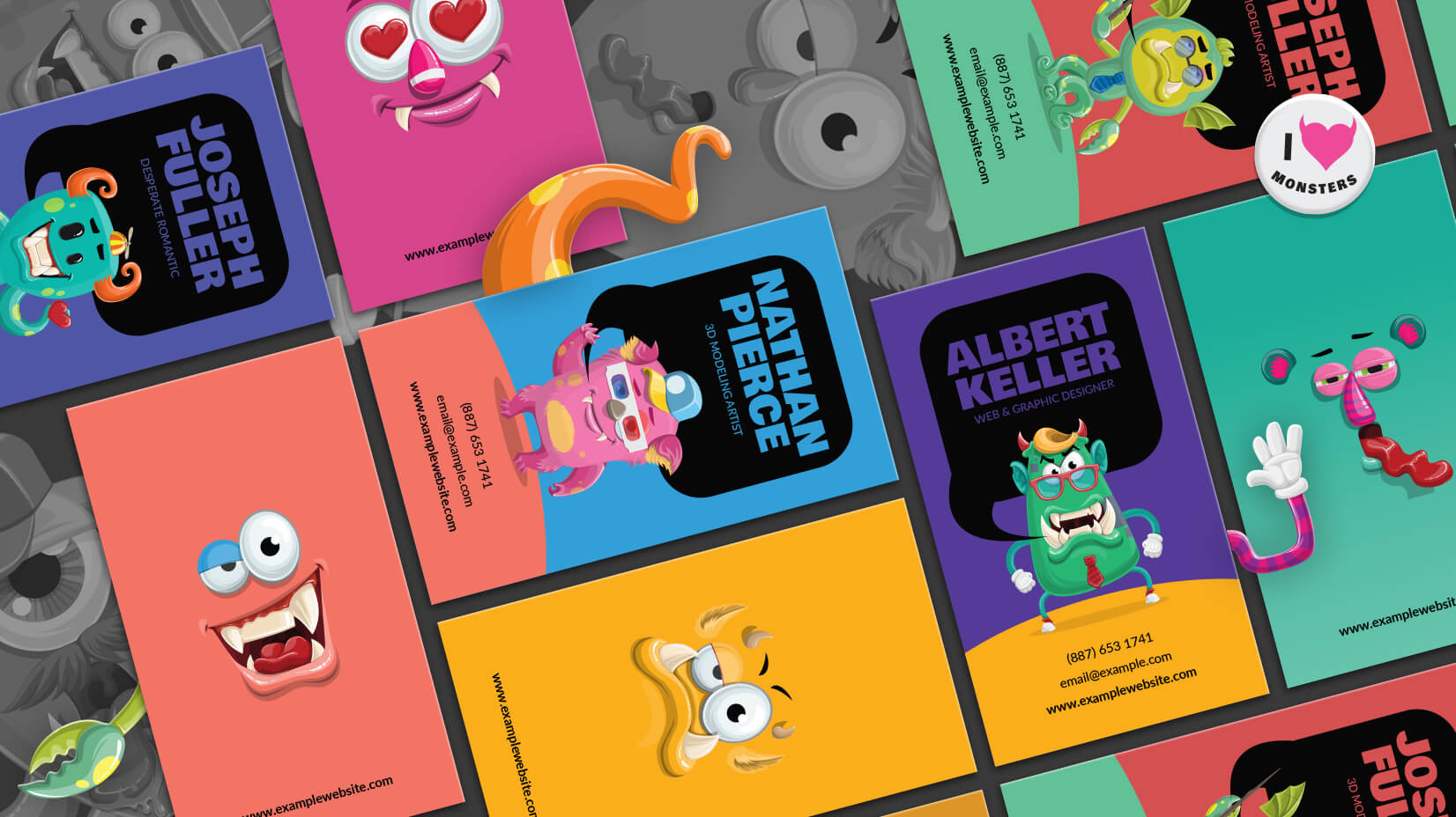 Monster business card template in illustrator tutorial freebie reheart Image collections