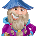 Wizard with Beard Cartoon Vector Character