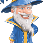 Wizard with a Hat Cartoon Vector Character