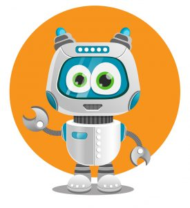 Create a cute robot using adobe illustrator.