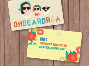 cartoon business card feminine