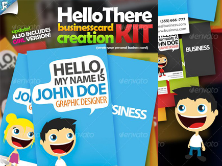 cartoon business cards typo people