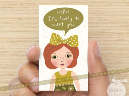 cartoon business card girl