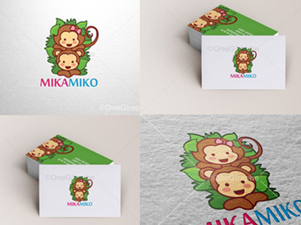 cartoon business card monkeys