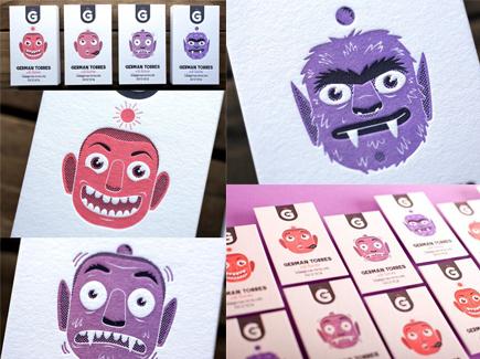 cartoon business cards monster