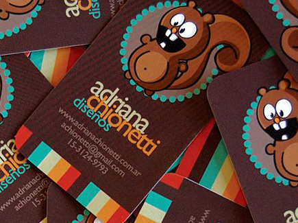 cartoon business card squirrel