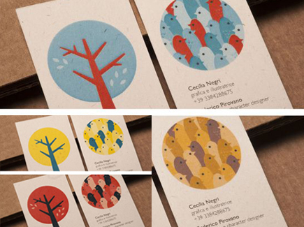 cartoon business card trees