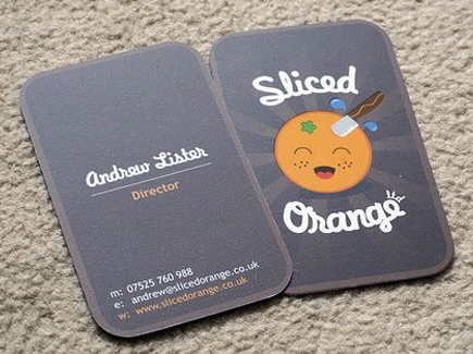 cartoon business card orange
