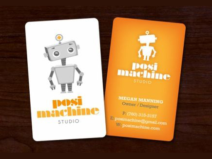 cartoon business card robot