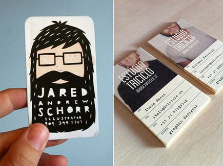 cartoon business card beard guy