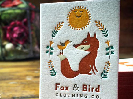cartoon business card fox