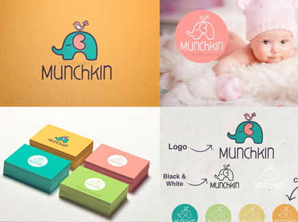 cartoon business card baby elephant