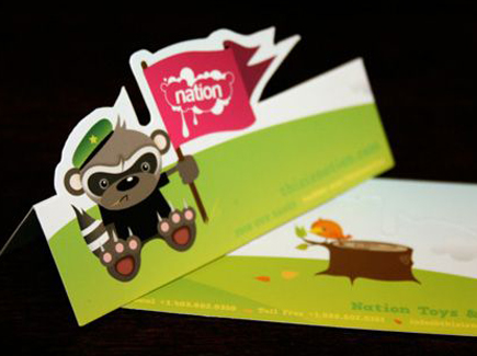 cartoon business card raccoon