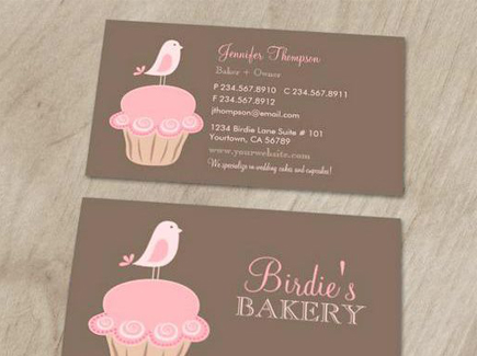 cartoon business card bird