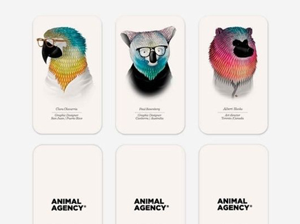 cartoon business card animals