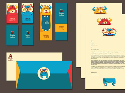 cartoon business cards monsters