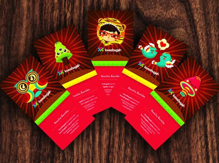 cartoon business cards bright