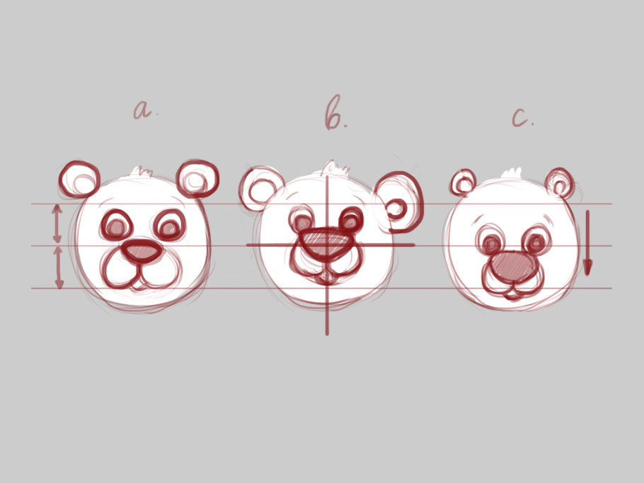 character's personality bear head size and variance