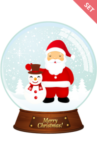 Santa Claus Snowman in Snow Ball
