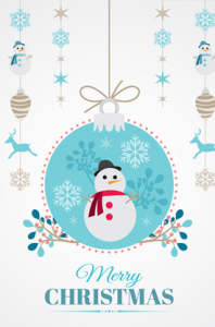 Snowman Merry Christmas Vector Illustration