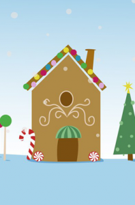 gingerbread house vector landscape