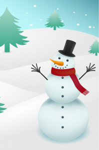 snowman on snow background vector