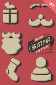 retro christmas elements vector