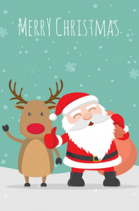 Santa Claus and Reindeer Thumb up