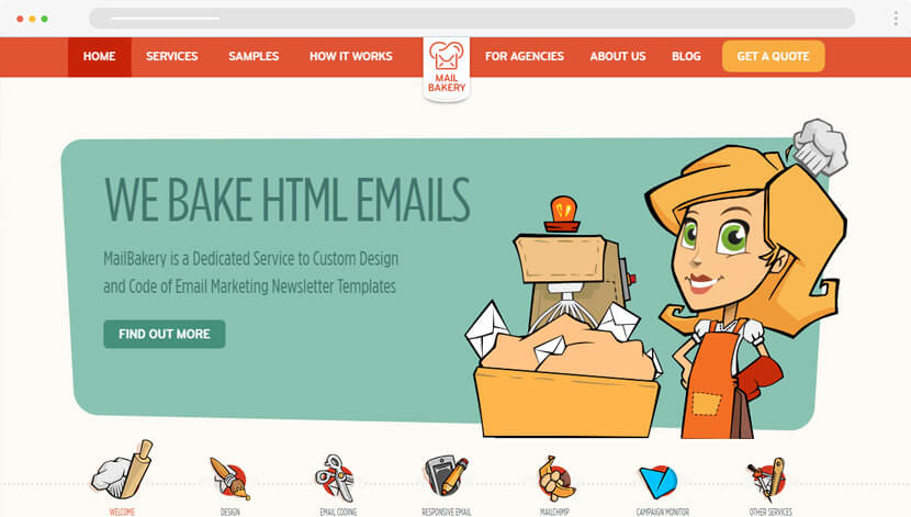 MailBakery cute website design
