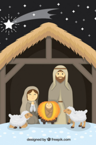 Nativity scene with sheep and shooting star