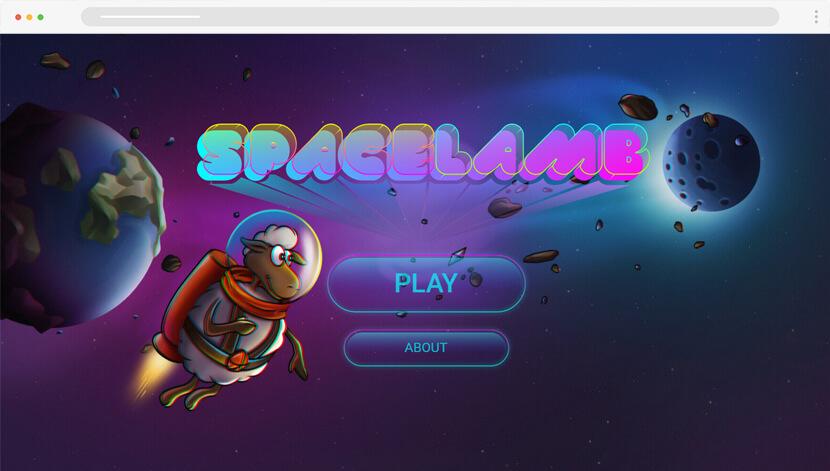 SpaceLamb website with futuristic illustrations