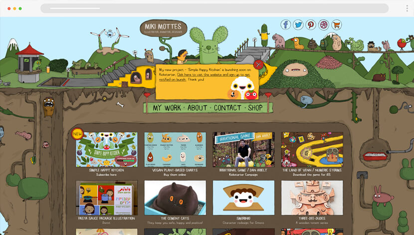 Miki Mottes cartoon website design