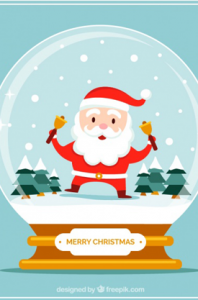 Santa Claus Character in Snow Ball
