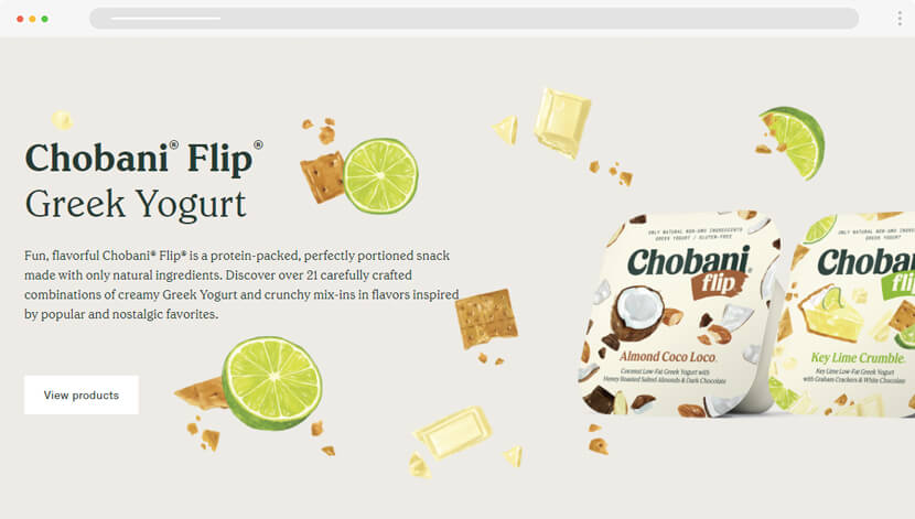 Chobani website design mixed with illustrations