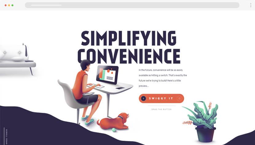 Labs Swiggy web design with modern illustrations