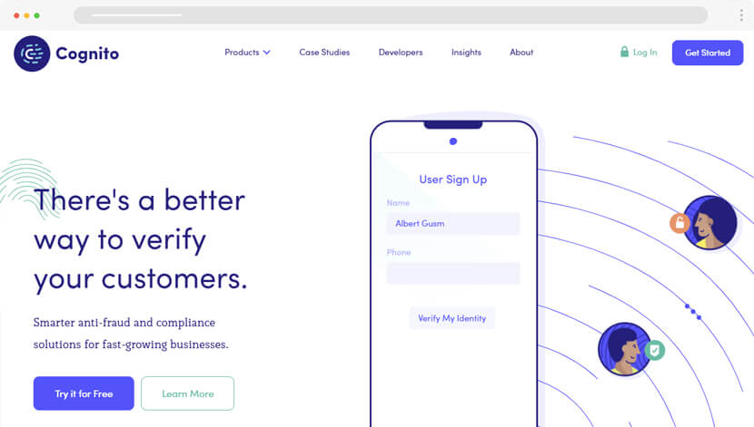 CognitoHQ website with flat illustration animations