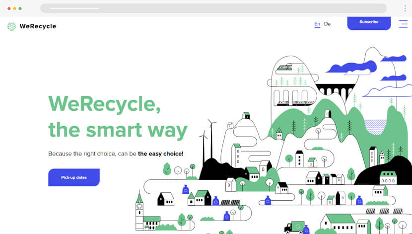 WeRecycle web design with modern flat illustrations
