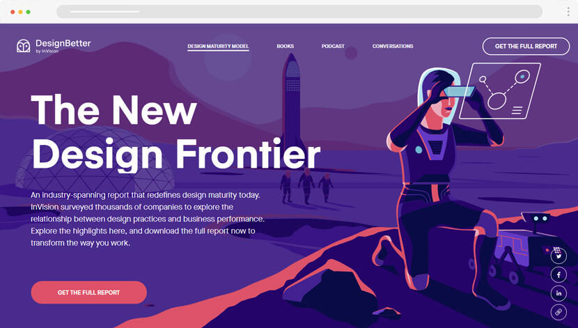 Design Maturity Model website with background illustrations