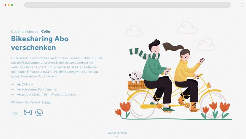Bike Sharing modern website with illustrations