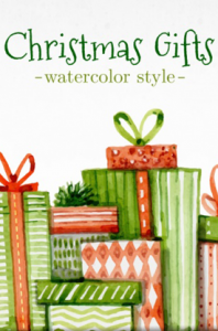 christmas gifts vector watercolor