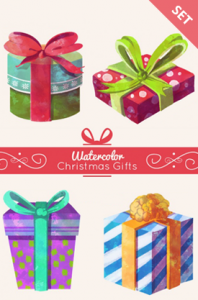 watercolor christmas presents vector