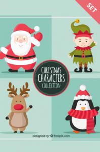 flat christmas characters vector