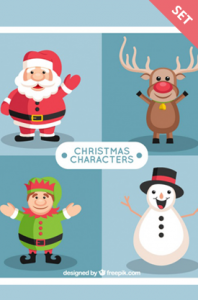 cute christmas characters vectors