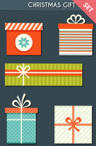 free christmas gifts vectors