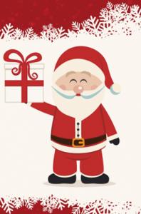 Santa Claus holding a Christmas gift