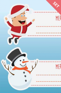 Vector Labels Christmas Theme