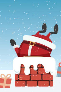 santa claus stuck in chimney
