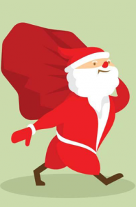 Santa Claus walking with a bag