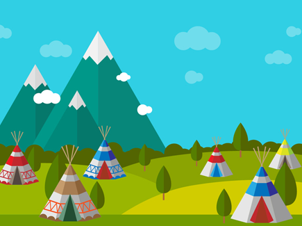 tipi-with-scenery-vector