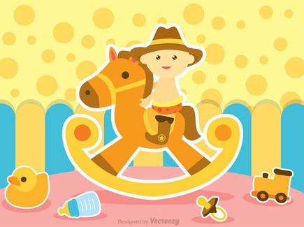 child-on-horse-toy-background
